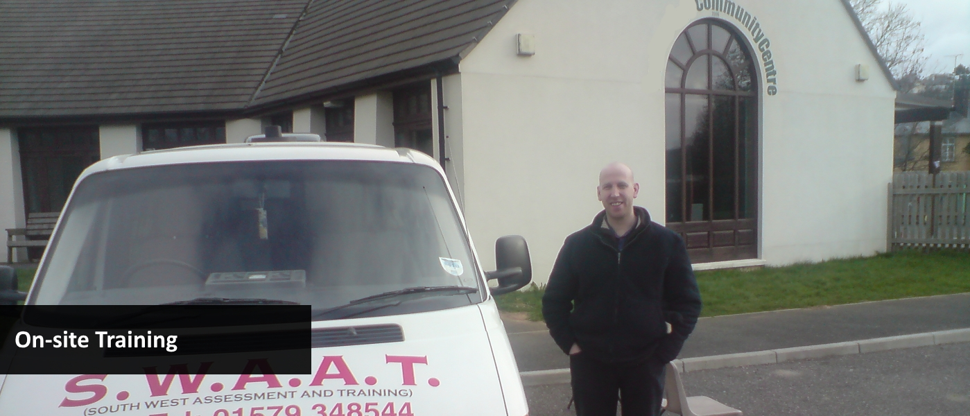 Course instructor with the company vehicle