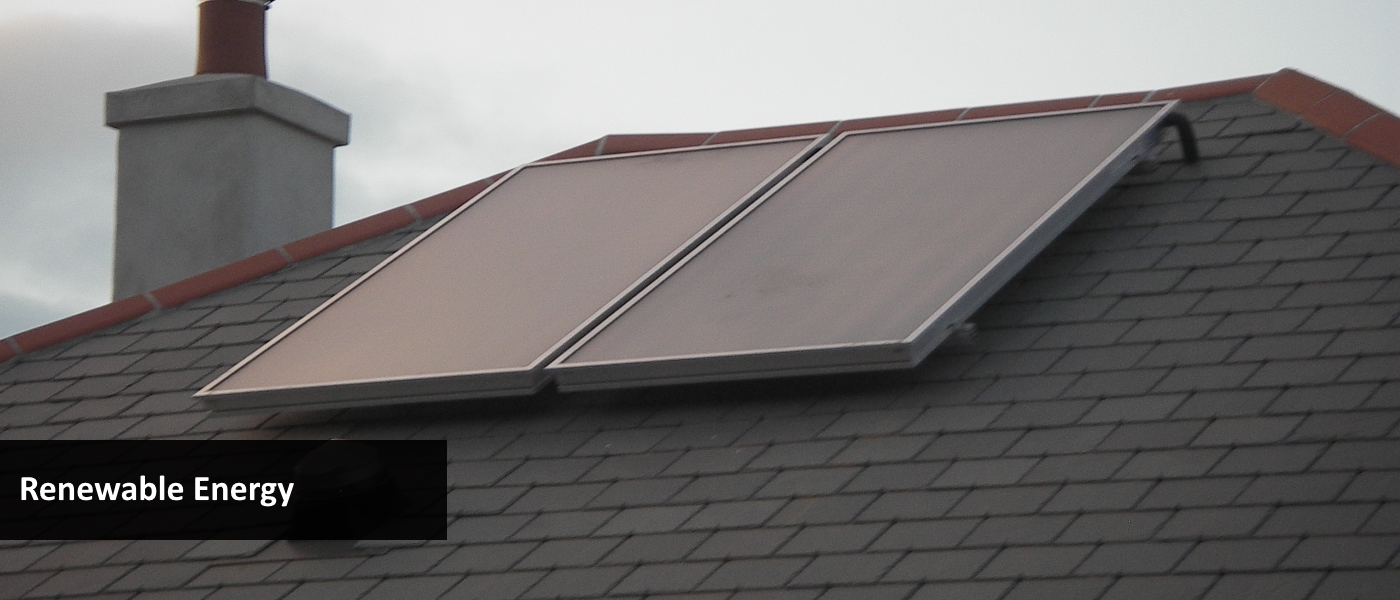 Solar hot water panels on a roof